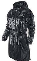 Nike Women's Long Windrunner Shiny Nylon Wet Look Effect Lined Parka Jacket Coat