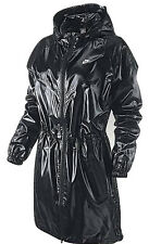 Womens Nike Black Windrunner Jacket Coat Lightweight Long Parka Shiny Wet LOOK S