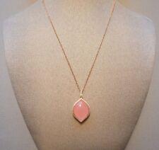 Mercer Loren Pink Jade with White CZ Rose Gold Pendant
