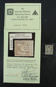 CKStamps: France Stamps Collection Scott#80 Mint HR OG APS Cert