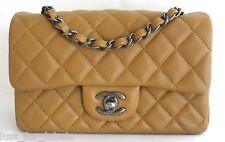 NWT CHANEL Leather RECTANGLE Mini Classic Flap Ruthenium CC Crossbody Bag