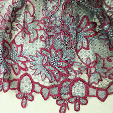 Gray Red Mesh Cord Lace Fabric Crochet Embroidery Fabric w/Bead 4 Party Dress
