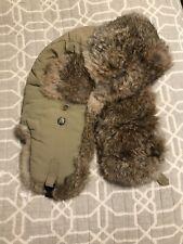Mad Bomber Rabbit Fur Trapper Hat Tan Insulated Chin Strap Size Medium