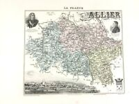 1893 Antique Map of Allier France Moulins Auvergne Rhone Region Hand Coloured