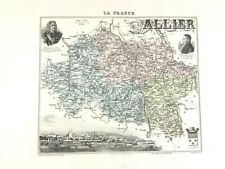 1893 Antique Map of Allier France Moulins Auvergne Rhone Region Hand Coloured