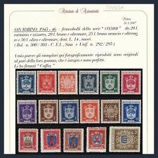 1945-46 San Marino Stemmi n. 279/295 Certificato Caffaz Nuovi Integri **