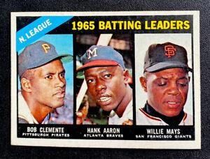 1966 TOPPS #215 ROBERTO CLEMENTE/HANK AARON/WILLIE MAYS NL BATTING LEADERS
