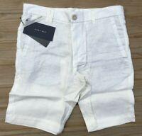 """Men`s New ZARA Linen Chino Shorts Size W32"""" Waist Off White"""