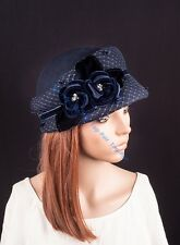 Blue Women Vintage Elegant Flowers Cashmere Winter Church Hat Bucket Felt Cap