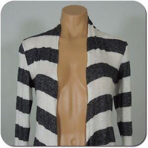 CHRIS & CAROL Women's/Juniors Striped Cardigan Top, Gray / White size M