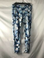 Athleta Womens Floral Crush Chaturanga Leggings Pants Full Length Blue sz M