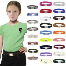 Toddler Kids Boy Girl Belt Elastic Adjustable Stretch Belts Silver Square Buckle