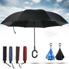 C-Handle Double Layer Umbrella UV Windproof Folding Inverted Upside Down Reverse