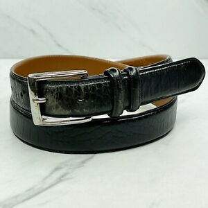 Polo by Ralph Lauren Black Croc Embossed Italian Leather Belt Size 34