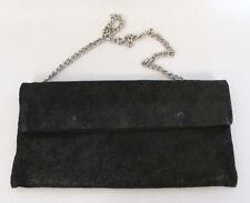 VINTAGE 1970s 80s GIUDIT  LEATHER CLUTCH SHOULDER BAG BLACK SPARKLE CHAIN