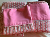 Vintage Cannon Royal Family Full Sheet Set Pink Ticking Flowers Lace Farmhouse