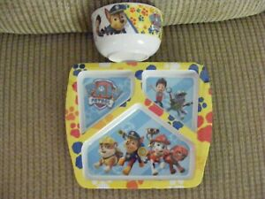 PAW PATROL 3-SECTION PLASTIC DIVIDED PLATE w/ BOWL ~ ZAK! DESIGNS ~ (YELLOW)