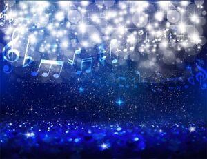 Creative Misical Symbols Snow Bokeh Blue Background 7x5ft Vinyl Photo Backdrop