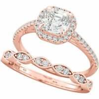 New 925 Silver Ladies 2 piece Asscher Cut Halo Wedding Ring Set / Rose Gold Tone
