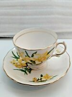 Royal Vale Bone China Yellow Lilly Teacup & Saucer Gold trim