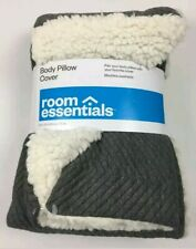 Room Essentials 1 Body Pillow Cover Gray and white 20x50 NWT