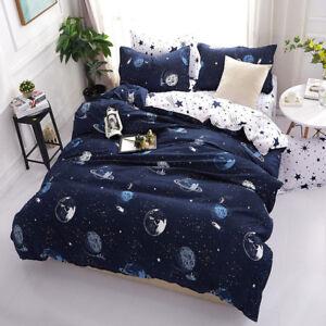 Space Galaxy Quilt Doona Duvet Cover Set Single/Queen/King Size Bed Flat Sheet