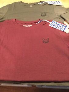 Jack & Jones Boys French Bulldog logo t shirt (age 13-14 burgundy )