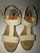 DR.SCHOLL'S True Comfort Womens Open-Toe Wedge Sandals NATURAL Size 9.5M NEW