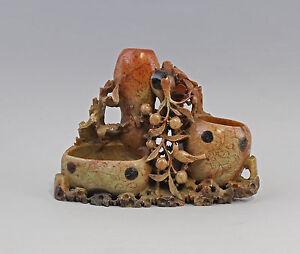 99839102 Speckstein Vase Asien Mitte 20.Jh. Pfirsichstrauch kunstvoll beschnitzt