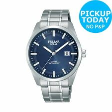 Pulsar Men's Solar Blue Dial Stainless Steel Bracelet Watch