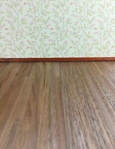 "Dollhouse Miniature Wood Flooring Dark Real Wood 1/4"" Planks 1:12 Scale 17"" x 11"