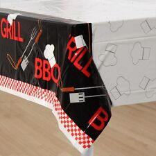 BACKYARD BBQ CHEF PLASTIC TABLE COVER ~ Birthday Party Supplies Decoration Cloth
