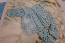 "Phildar Knitting Pattern 8757 Matinee Jacket & Booties Baby Dk 15-18"""