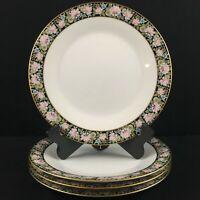 Set of 4 VTG Dinner Plates Noritake Rima Multi Floral Black Gold Rim 6906 Japan