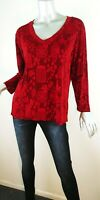 Chico's Travelers Pullover Tunic Top Red Asian Long Sleeve Scoop Neck Sz XL (3)