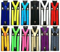 GENTS MENS 25mm WIDE ADJUSTABLE BRACES SUSPENDERS ELASTIC PLAIN COLOURS CLASSIC