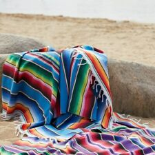 Yoga Picnic Camping Tapestry Shawl Cloak  Mexican Rainbow Blanket Home Rug