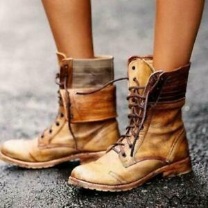 Women Lace Up Zipper Leather Mid-calf Boots Ladies Military Biker Combat Shoes
