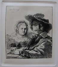 REMBRANDT Amand Durand Plate Signed Etching SELF PORTRAIT WITH SASKIA