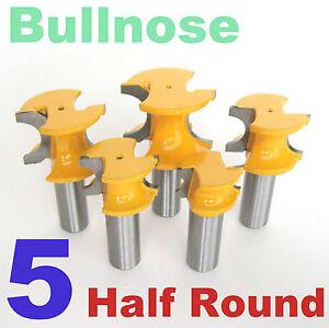 "5pc 1/2"" Shank Half Round Bullnose 3/8,5/16,1/4,3/16.1/8 Router Bit Set S"