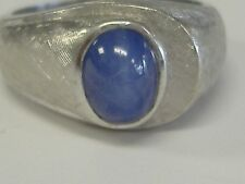 VINTAGE 14 K WHITE GOLD LINDY STAR SAPPHIRE  MEN'S RING 9.25 SIZE