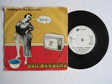 """BAD MANNERS - WALKING IN THE SUNSHINE - 7"""" 45 rpm vinyl record"""