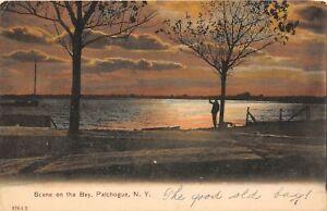 H71/ Patchaogue Long Island New York Postcard c1910 Scene Bay Sunset 221