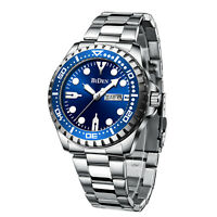 Mens Watches Silver Stainless Steel Date Blue Analog Quartz Business Wristwatch