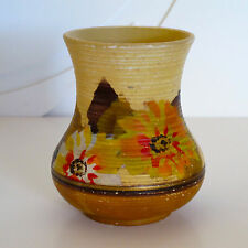 Art Deco English Pottery Vase with Cold Painted Floral Decoration c.1930s