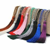 Fashion Crystal Tassel Chain Necklace Beaded Silk Long Pendant Jewelry Sweater