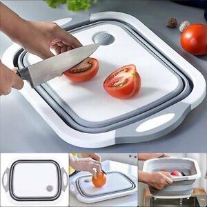 丿丿Collapsible Cutting Board, Portable Washing Veggies Camping Sink with Draining