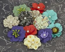 "NEW Prima ""School Memories Collection"" Mulberry Paper Flowers /with Pearl Center"
