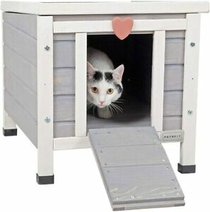 Petsfit Outdoor Cat House, Feral Cat Shelter Weatherproof, Rabbit Hutch