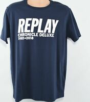 REPLAY Men's Dark Grey Short Sleeve T-Shirt with text- Size L